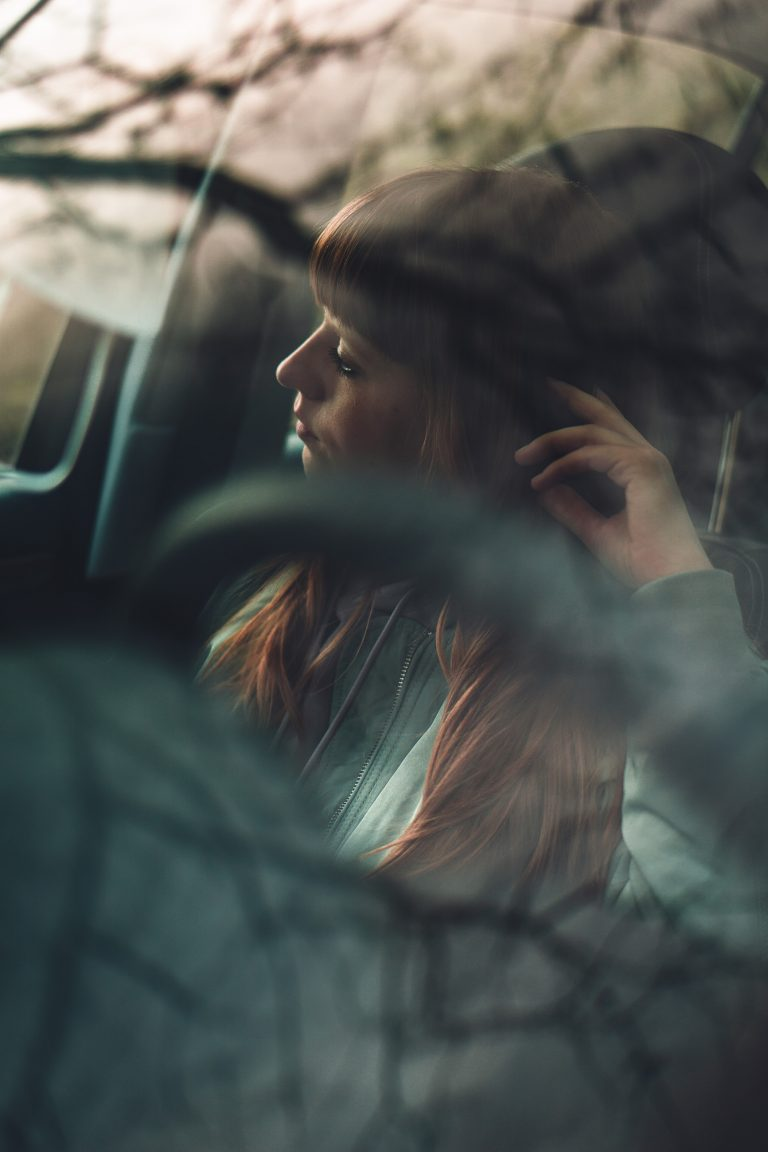 David Vongries - Waldaschaff, Germany - Moody Car Portrait Reflections Redhead Desaturated Soft Daydreaming